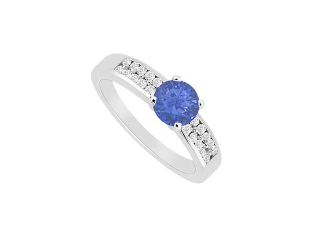Diamond and Natural Sapphire Engagement Ring in 14K White Gold 0.75 Carat TGW