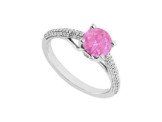 Pink Sapphire and Diamond Engagement Ring in 14K White Gold 1.00 ct.tgw