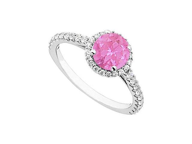 Pink Sapphire and Diamond Halo Ring in 14K White Gold 1.00.ct.tgw