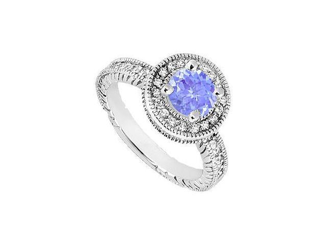 Created Tanzanite and Cubic Zirconia Halo Engagement Rings in 14K White Gold 1.50.ct.tgw