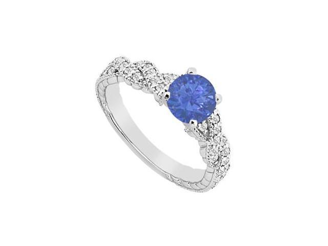 Diamond Crossover Engagement Ring with Natural Sapphire in 14K White Gold 0.75 Carat TGW