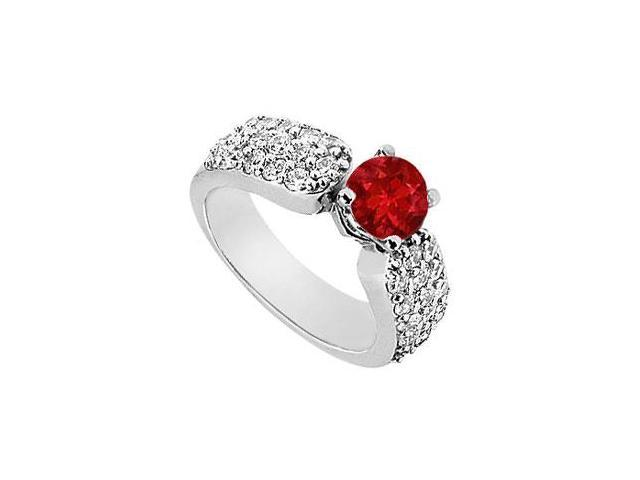 Wide Shank Multi-Row Created Ruby and CZ Engagement Ring in 14kt White Gold 2.00.ct.tgw