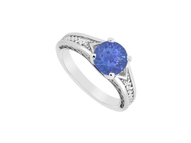 Diamond and Natural Sapphire Engagement Ring in 14K White Gold 0.60 Carat TGW