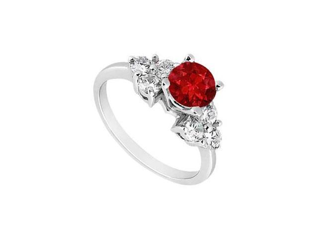 Created Ruby Engagement Ring  with Three Stone Cluster CZ in 14K White Gold 1.00.ct.tgw