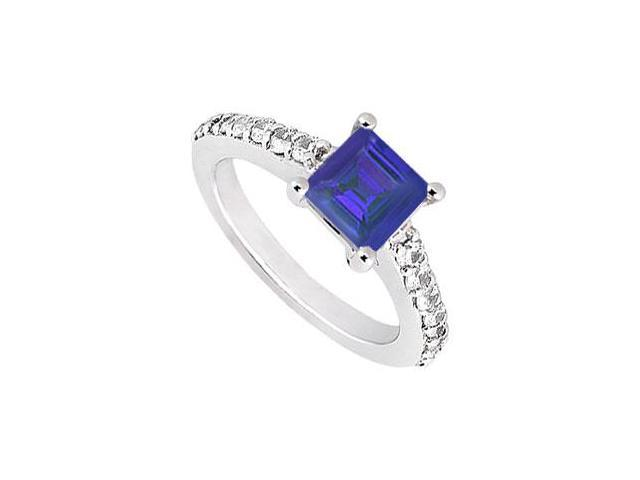 Princess Cut Four Prong Set Created Sapphire and CZ Engagement Ring in 14K White Gold 1.50.ct.tw