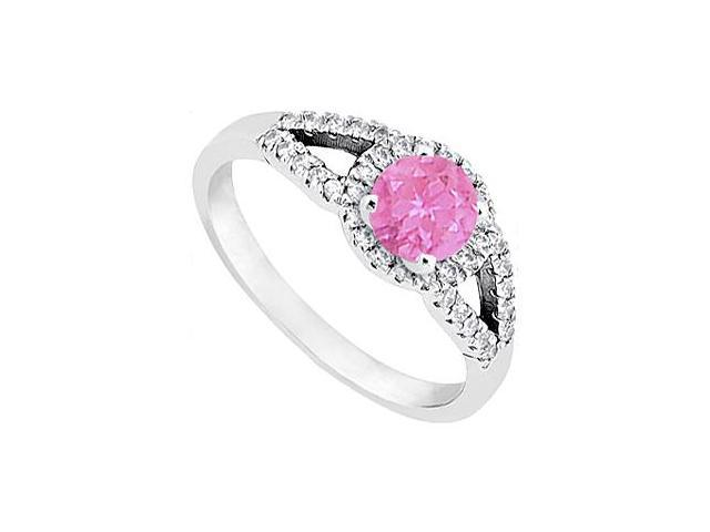 Pink Sapphire and Diamond Ring in 14K White Gold 1.00.ct.tgw