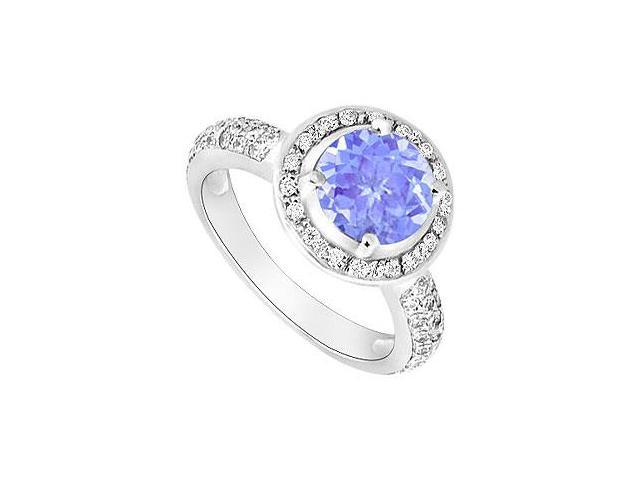 Created Tanzanite and Cubic Zirconia Halo Engagement Rings 14kt White Gold 1.50.ct.tgw