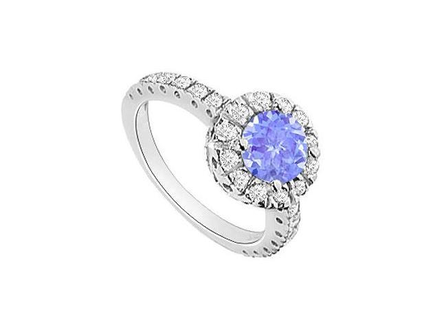 Created Tanzanite and Cubic Zirconia Halo Engagement Ring in 14K White Gold 1.30.ct.tgw