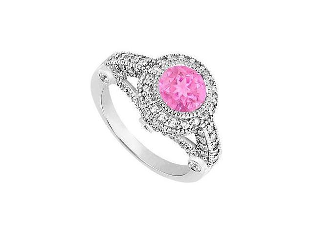 September Birthstone Created Pink Sapphire  CZ Halo Engagement Rings 14K White Gold 1.75.ct.tgw