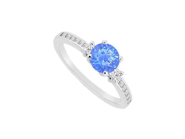 Diffuse Sapphire with Cubic Zirconia Princess Cut Engagement Ring in 14K White Gold 1.30 Carat T