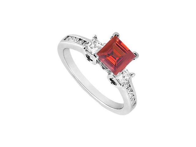 Princess Cut Three Stone Created Ruby and CZ Engagement Ring in 14kt White Gold 1.00.ct.tw