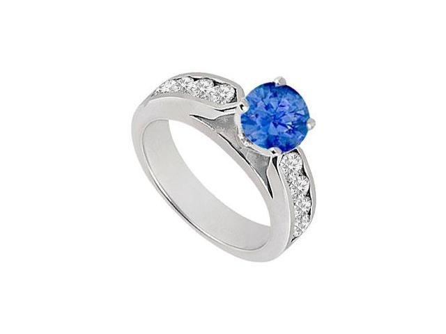 September birthstone Created Sapphire and CZ Engagement Rings in 14kt White Gold 0.75.ct.tgw