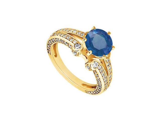 Sapphire and Diamond Engagement Ring  14K Yellow Gold - 1.75 CT TGW