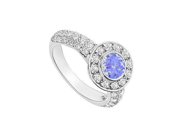 Created Tanzanite and Cubic Zirconia Halo Engagement Ring in 14K White Gold 2.25.ct.tgw