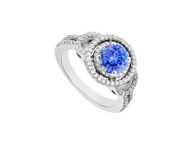 Tanzanite and Diamond Engagement Ring 14K White Gold  1.00 CT TGW