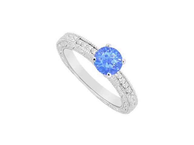 14K White Gold Diffuse Sapphire Prong Set with Cubic Zirconia Engagement Ring 1.10 Carat TGW