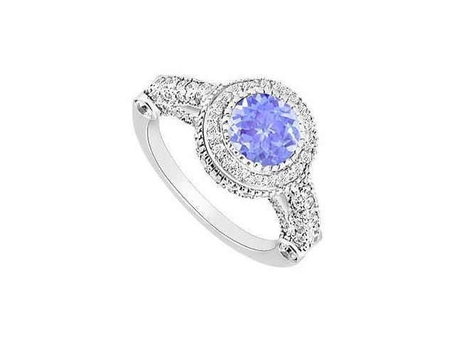 Created Tanzanite and CZ Halo Engagement Rings in 14K White Gold 2.00 ct.tgw