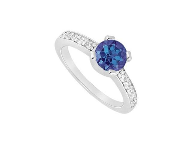 Four Prong Set Created Sapphire and CZ Engagement Ring in 14kt White Gold 1.00.ct.tgw