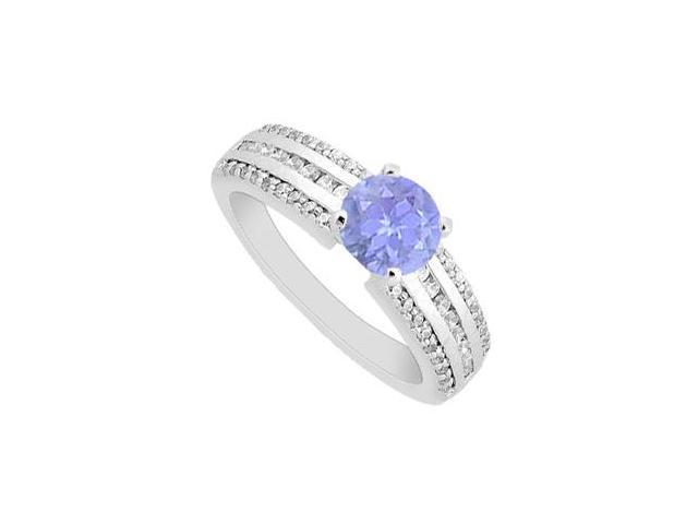 Tanzanite Engagement Ring with Diamonds Brilliant cut in White gold 14K 1.10 Carat TGW
