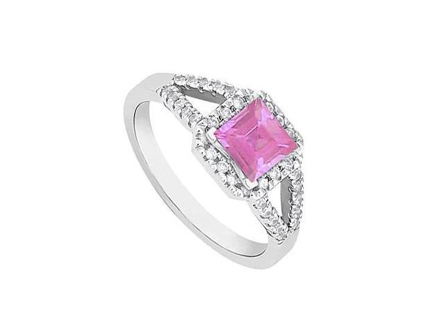 Square Pink Sapphire and Diamond Halo Ring in 14K White Gold 1.00.ct.tgw