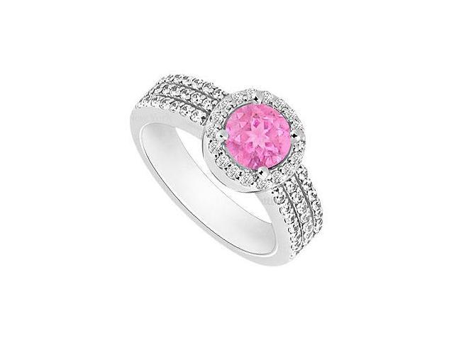 Created Pink Sapphire and Cubic Zirconia Halo Engagement Rings in 14K White Gold 1.60.ct.tgw