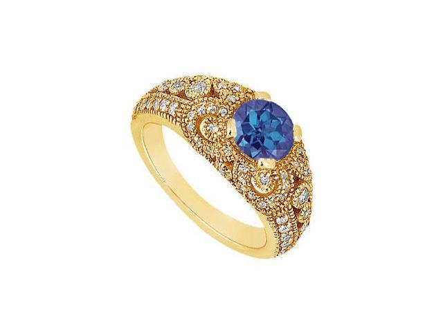 Sapphire and Diamond Engagement Ring  14K Yellow Gold - 1.00 CT TGW