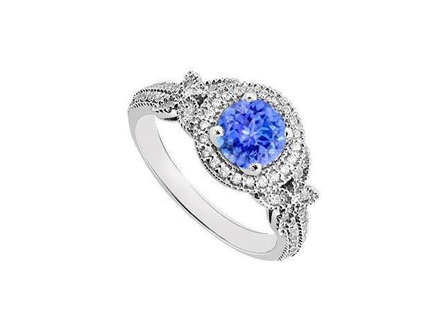 Tanzanite and Diamond Engagement Ring 14K White Gold  0.80 CT TGW