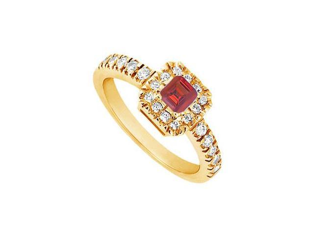 Ruby and Diamond Engagement Ring  14K Yellow Gold - 0.50 CT TGW