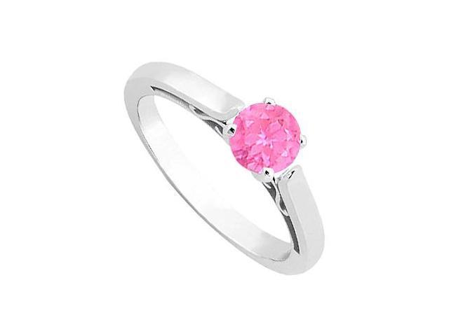 Pink Sapphire Solitaire Ring in 14K White Gold 0.50 Carat TGW