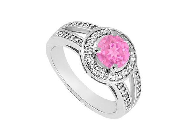 Created Pink Sapphire  CZ Split Shank Halo Engagement Rings 14K White Gold 1.50.ct.tgw