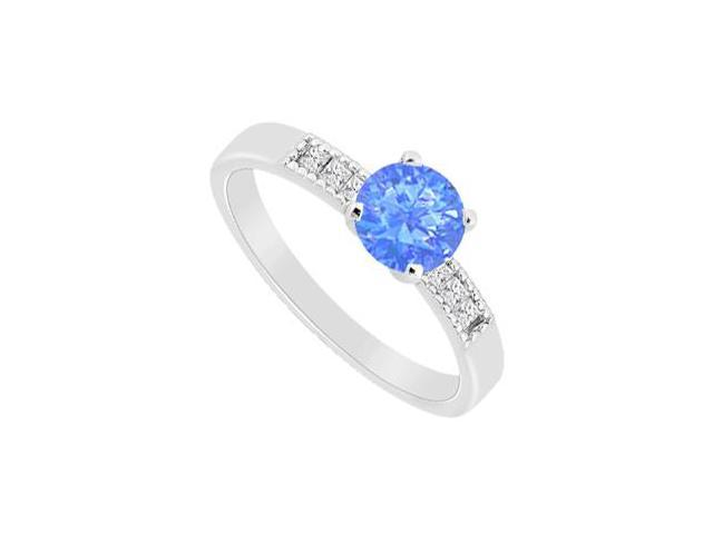 Diffuse Sapphire and Channel Set Cubic Zirconia Engagement Ring in 14K White Gold 1.10 Carat TGW