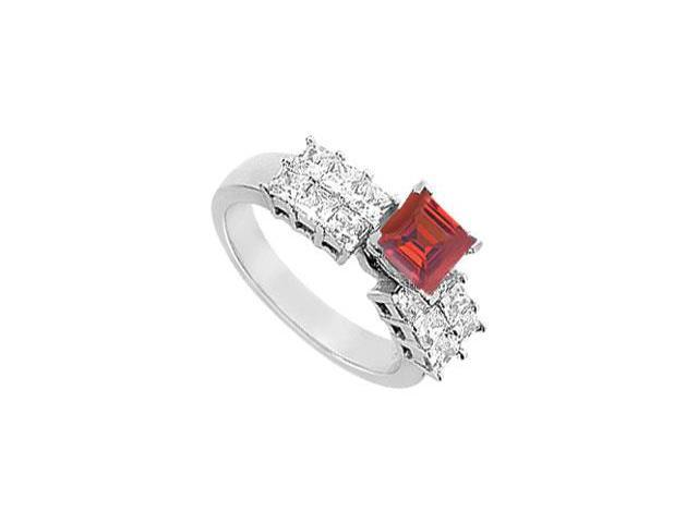 Engagement Ring Princess Cut Two Row with Created Ruby and CZ in 14kt White Gold 2.00.ct.tgw