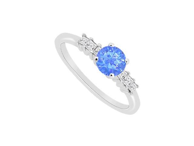 Diffuse Sapphire and Princess Cut Cubic Zirconia Engagement Ring in 14K White Gold 1.10 Carat TG