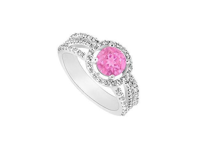 Created Pink Sapphire  CZ Split Shank Halo Engagement rings 14K White Gold 1.75.ct.tgw