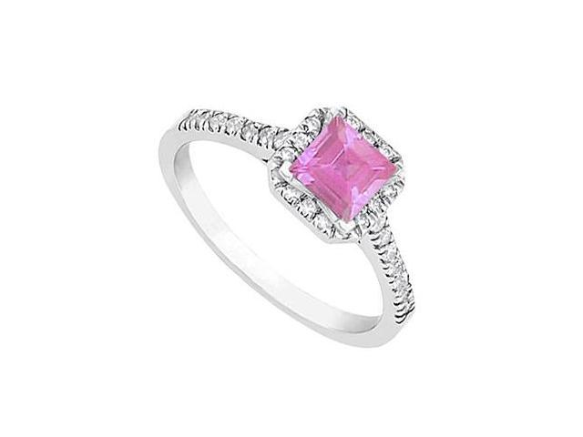Pink Sapphire and Diamond Halo Engagement Ring in 14kt White Gold 1.00.ct.tgw