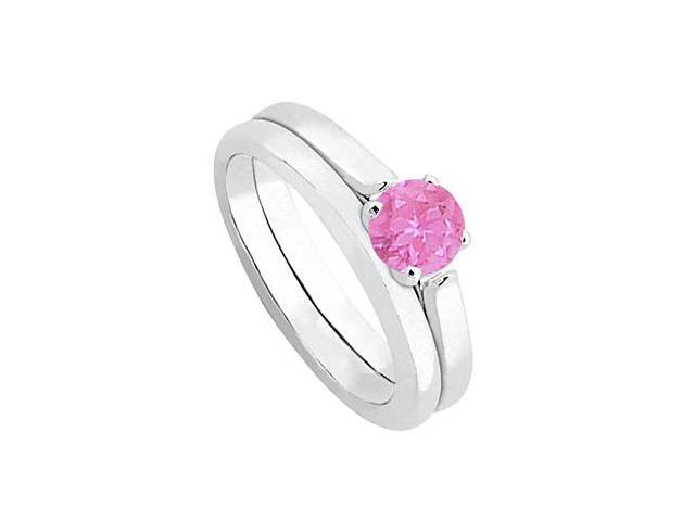 Pink Sapphire Solitaire Wedding and Engagement Ring Set in 14kt White Gold 0.50.ct.tw