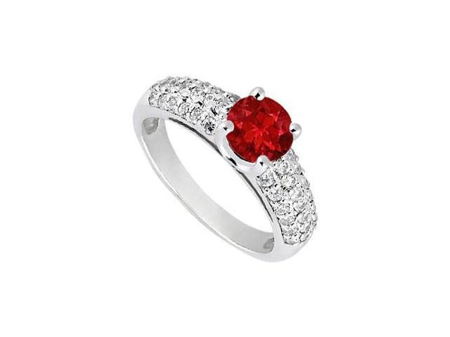 Multirow Wide Shank Created Ruby and CZ Engagement Ring in 14kt White Gold 1.50.ct.tgw