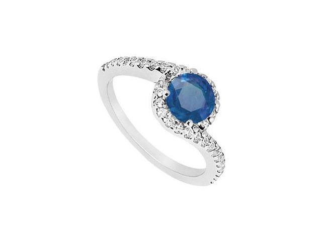 Created Sapphire and CZ Halo Engagement Ring in 14kt White Gold 1.00.ct.tgw