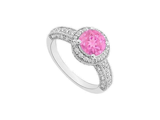 September Birthstone Created Pink Sapphire  CZ Halo Engagement Rings 14kt White Gold 1.55ct.tgw