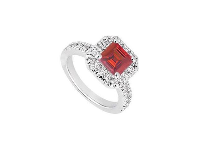 Princess Cut Created Ruby and CZ Halo Engagement Ring in 14kt White Gold 1.00.ct.tgw.