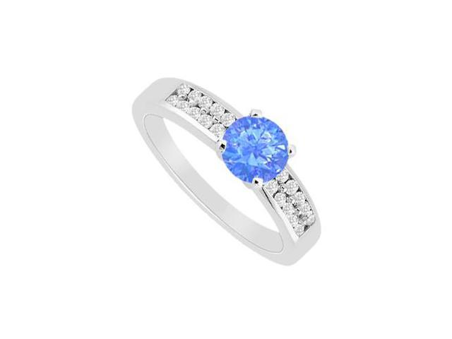 Channel Set Cubic Zirconia with Diffuse Sapphire Engagement Ring in 14K White Gold with 1.25 Car