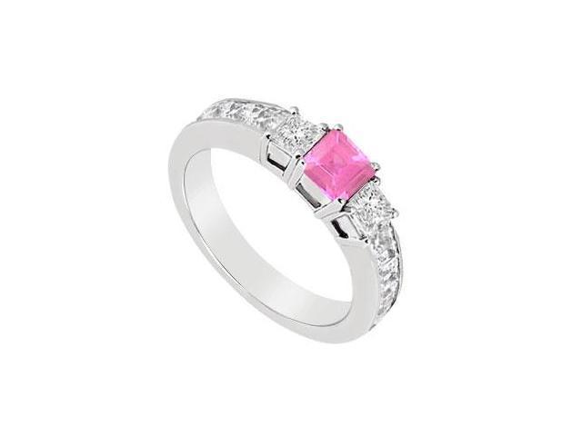 Pink Sapphire and Diamond Ring  14K White Gold - 1.00 CT TGW