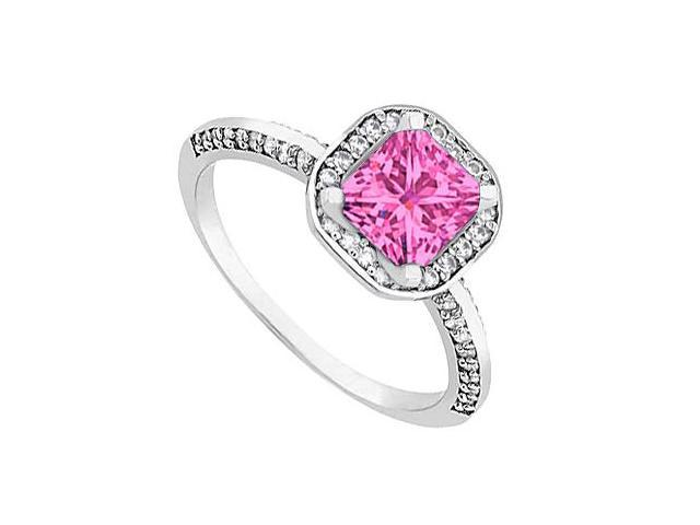 Halo Pink Sapphire and Diamond Engagement Ring in 14kt White Gold 1.00.ct.tgw