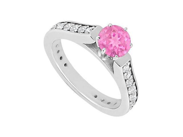 September Birthstone Created Pink Sapphire and CZ Engagement Rings 14kt White Gold 1.ct.TGW