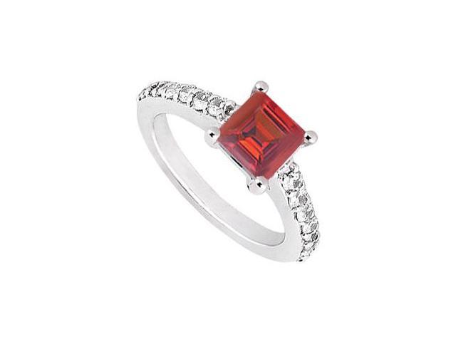 Princess Cut Four Prong Set Created Ruby and CZ Engagement Ring in 14kt White Gold 1.50.ct.tgw