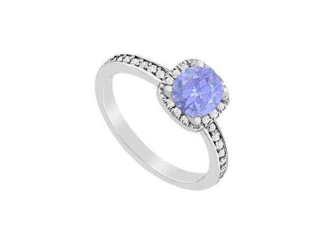 Diamond and Tanzanite Halo Engagement Ring in 14K White Gold 1.05 Carat Total Gem Weight
