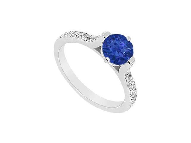 Semi Mounting Created Sapphire and CZ Engagement Ring in 14K White Gold 0.75.ct.tgw