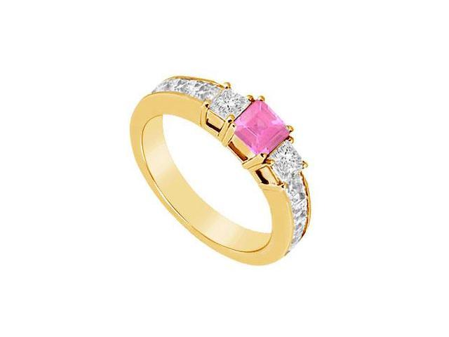 Pink Sapphire and Diamond Ring  14K Yellow Gold - 1.00 CT TGW