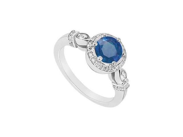 Created Sapphire and CZ Leaf Motif Engagement Ring in 14kt White Gold 0.75.ct.tgw
