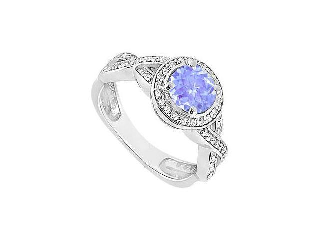 Created Tanzanite and Cubic Zirconia Halo Engagement Rings in 14K White Gold 1.40.ct.tgw